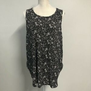 Old Navy Luxe Top Size XL Black Floral Tunic Scoop Neck Sleeveless